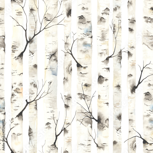 Photo Birch trees with branches, watercolor seamless pattern
