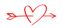 Heart Shape Red With Arrow Line Isolated On White, Heart Pierced By An Arrow For Valentine's Day Concept, Arrow And Heart For Clip Art Red Line, Arrows Hitting A Heart Shaped Target
