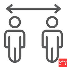 Social Distancing Line Icon, C...