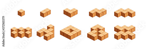 wooden cubes for children learning counting number one to ten, wood cubes sample Wallpaper Mural