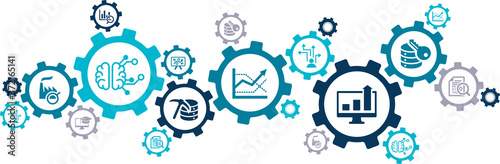 Fototapety, obrazy: Business intelligence vector illustration. Concept with connected icons related to data mining / analysis, optimization, performance monitoring, reporting or decision-making.