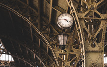 Exterior Of The Vitebsky Railway Station. Saint Petersburg, Russia. Architectural Elements, Vintage Lantern And Clock Close-up. Travel Destinations, Landmarks, Sightseeing, Russian Culture, History
