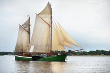 An Elegant Two-masted Gaff Sch...