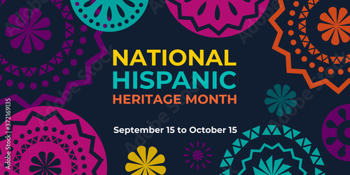 Obraz Hispanic heritage month. Vector web banner, poster, card for social media and networks. Greeting with national Hispanic heritage month text, Papel Picado pattern, perforated paper on black background. - fototapety do salonu