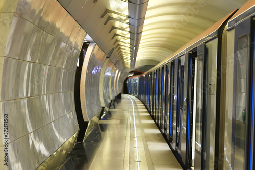 Fototapeta wagon train subway movement, transportation concept abstract background without