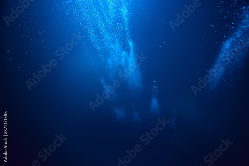 Fotografiet bubbles air under water ocean background diving nature abstract background under