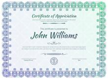 Official Blue Guilloche Border For Certificate. Vector Illustration. Gradient Blue Green Frame.