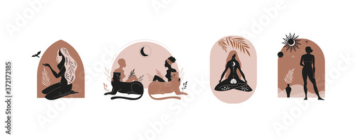 Obraz Mystic women, exotic woman, feminine concept illustration, beautiful esoteric women silhouettes . Flat style vector design - fototapety do salonu