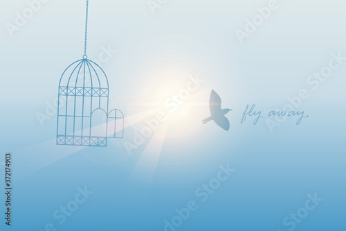 Valokuvatapetti bird flies out of the cage into the sunny sky vector illustration EPS10