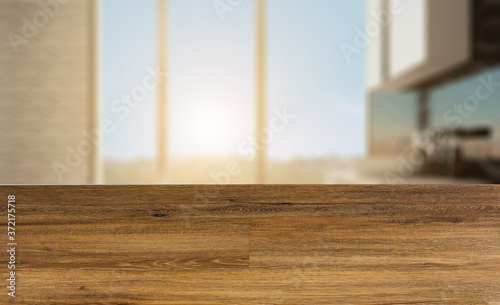 Clean and fresh bathroom with natural light. 3D rendering.. Sunset.. Abstract blur phototography. wooden table on blurred background.