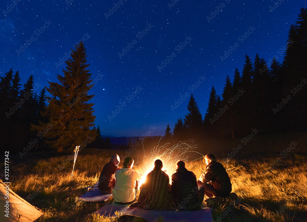 Fototapeta Summer camping under stars. Back view of group of five people, men and woman sitting near bright bonfire, tourist tent under dark night sky with sparkling stars. Concept of tourism, evening camping. - obraz na płótnie