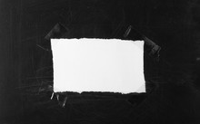 White Blank Paper Scrap With Transparent Tape On Black Chalkboard, Blackboard Background And Texture