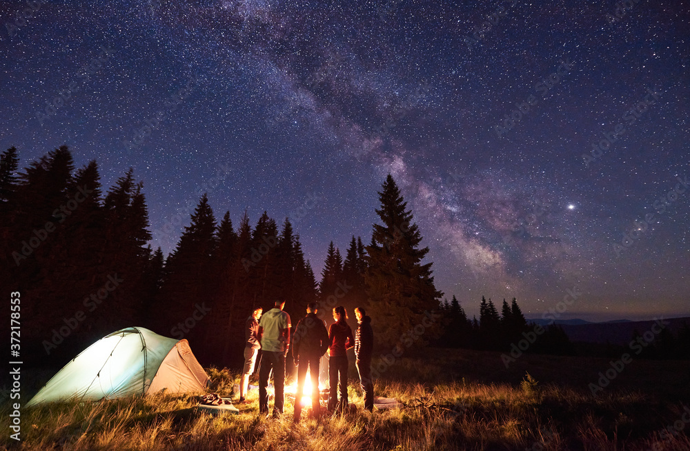 Fototapeta Back view group of five tourists standing around burning bonfire near two tents against backdrop pine forest under starry sky. Dark night sky strewn with bright stars and Milky Way is visible on it. - obraz na płótnie