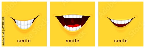 Smile day cards. Happy smiles, positive mood. Yellow laughter banners, funny smiling design. Success thinking or greetings mouth templates vector symbols. Happy smile joy card, fun banner illustration