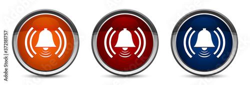Photo Alarm icon exclusive blue red and orange round button design set