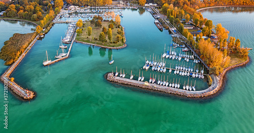 Obraz na plátně Aerial view on the port at lake Balaton