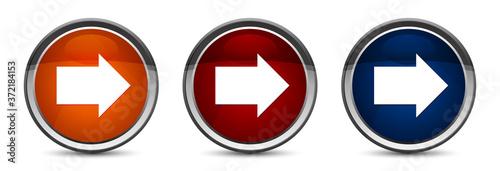 Fototapeta Next arrow icon exclusive blue red and orange round button design set