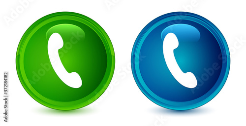 Cuadros en Lienzo Phone icon artistic shiny glossy blue and green round button set