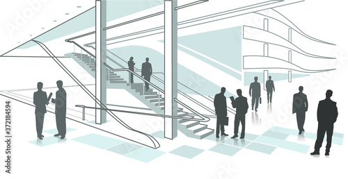 illustration of business center and businessman in flat style фототапет