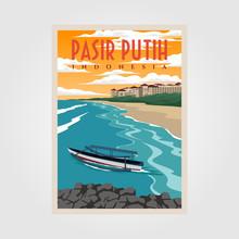 Pasir Putih Anyer Beach Vintage Poster Illustration Design, Indonesian Beach Poster Design