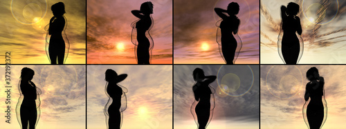 Fotografia Conceptual fat overweight obese female vs slim fit healthy body after weight loss or diet with muscles thin young woman over sunset
