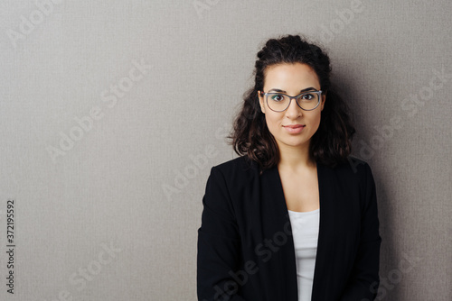 Fototapeta Half-length portrait of young brunette woman