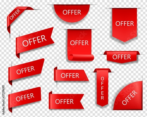 Fototapeta Sale offer red vector banners, ribbons and labels. Isolated internet business corners, realistic discount silk scarlet promotional event banners, shopping flags, tags, sale offer badges or 3d icon set obraz