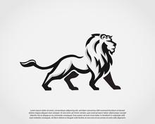 Elegant Stand Lion Drawing Art Logo Symbol Design Illustration