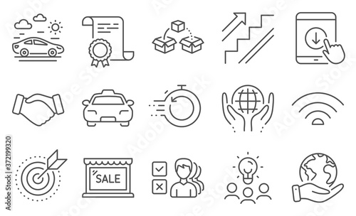 Fototapeta Set of Business icons, such as Parcel shipping, Target purpose. Diploma, ideas, save planet. Car travel, Opinion, Taxi. Fast recovery, Scroll down, Stairs. Sale, Handshake, Wifi. Vector obraz na płótnie