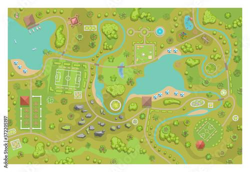 Canvas Print A vector illustration of amusement park map