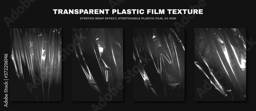 Fotografie, Tablou Transparent plastic film texture, stretchable polyethylene film, A4 size