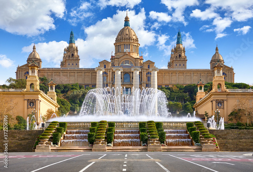 Fotografiet Barcelona, Spain. Spanish Square with fountain at summer day