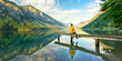 canvas print picture - Sitzen am See, Stille genießen