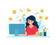 Earn Money Online, Woman With A Computer And Coins. Vector Illustration In Flat Style