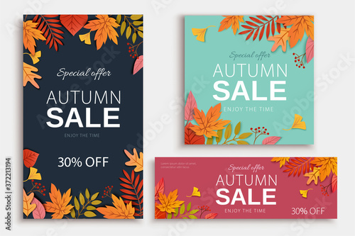 Obraz Autumn foliage cover template - fototapety do salonu