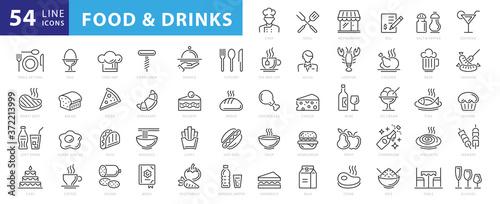 Food linear icons set Fototapete