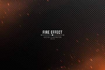 Fire effect with particles on a transparent dark background. The flame sparkles and smoke. Vector illustration.
