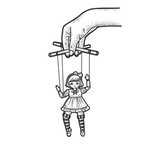 Puppeteer With Puppet Doll Sketch Engraving Vector Illustration. T-shirt Apparel Print Design. Scratch Board Imitation. Black And White Hand Drawn Image.