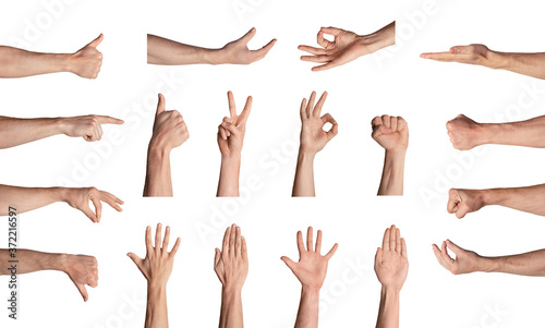 Fototapeta Collection of male hands gesturing different signs on white background, isolated. Collage obraz