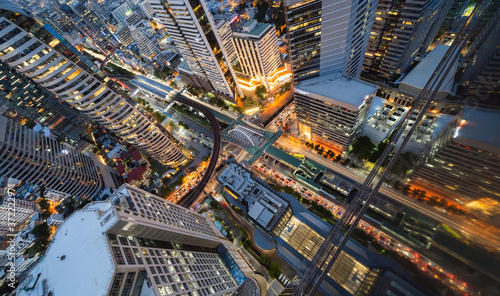 Tablou Canvas Aerial view of Sathorn intersection or junction with cars traffic, Bangkok Downtown