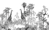 Seamless Border Wildlife in Tropics Toile, Engraving Drawing Exotic Palms and Giraffes, Monkeys, Cheetah Black and white on White Background - 372226365