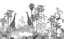 Seamless Border Wildlife In Tropics Toile, Engraving Drawing Exotic Palms And Giraffes, Monkeys, Cheetah Black And White On White Background