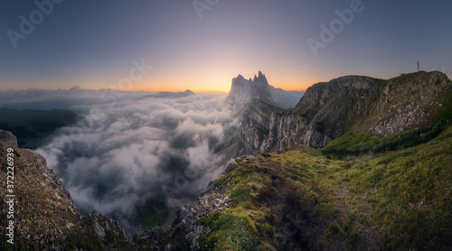 Unexpected but beautiful sunrise in Seceda, Dolomites, Italy Canvas Print
