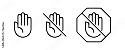 Fotografie, Obraz Do not touch hand icons. Set of linear icons with stop hand