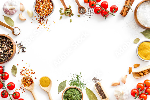 Foto Colourful herbs spices and flavoring for cooking