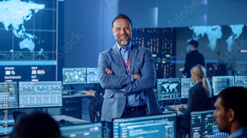 Fotografiet Confident Successful Senior Male Project Leader in a Computer Science Engineer Office Standing with Crossed Arms