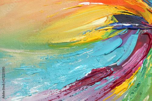 Obraz na plátně Abstract acrylic and watercolor smear blot painting