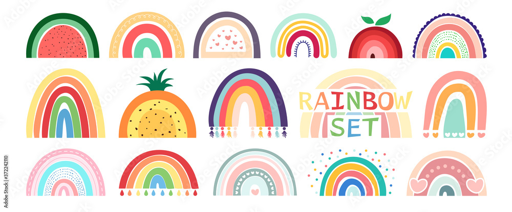 Fototapeta Boho rainbow set isolated on white background. In cute delicate pastel colors. Hand drawing style for posters, prints, cards, fabric, textile, children's books and decorating baby clothes.