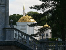 Stairs And A Mosque In Catherine Park (Tsarskoe Selo). Town Of Pushkin. Russia.