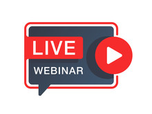 Live Webinar Button Or Banner Element - Catchy Dialog Message Box With Play Button And Text - Isolated Template
